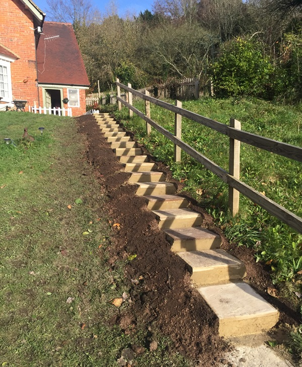 Flight of steps - Hard landscaping by Sussex Landworks, Midhurst & Chichester West Sussex